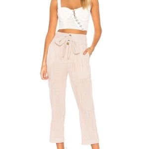 Free People High Waist Belted Pants Striped Sz 6